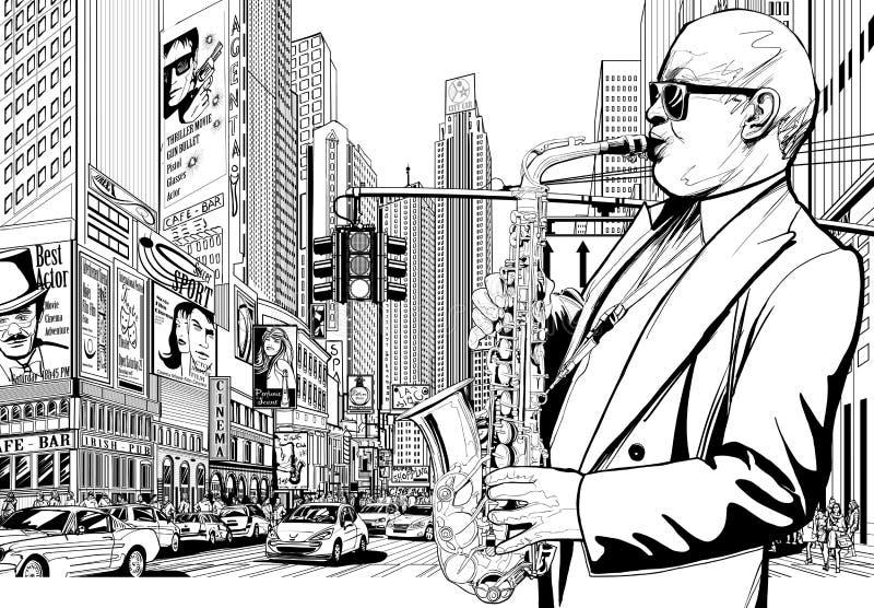 De speler van de saxofoon in een straat van New York stock illustratie