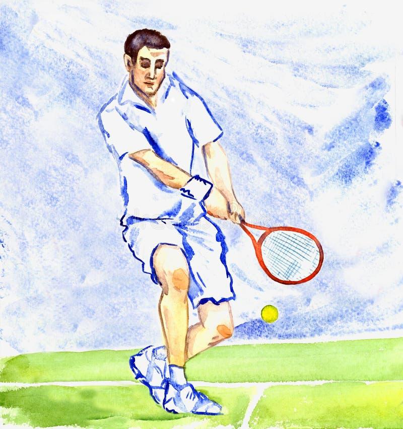 De speler van het atletentennis raakt de bal door racket op het hof op a vector illustratie