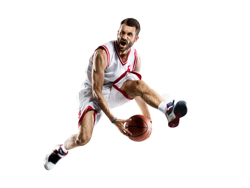 De speler van het basketbal in actie royalty-vrije stock afbeelding