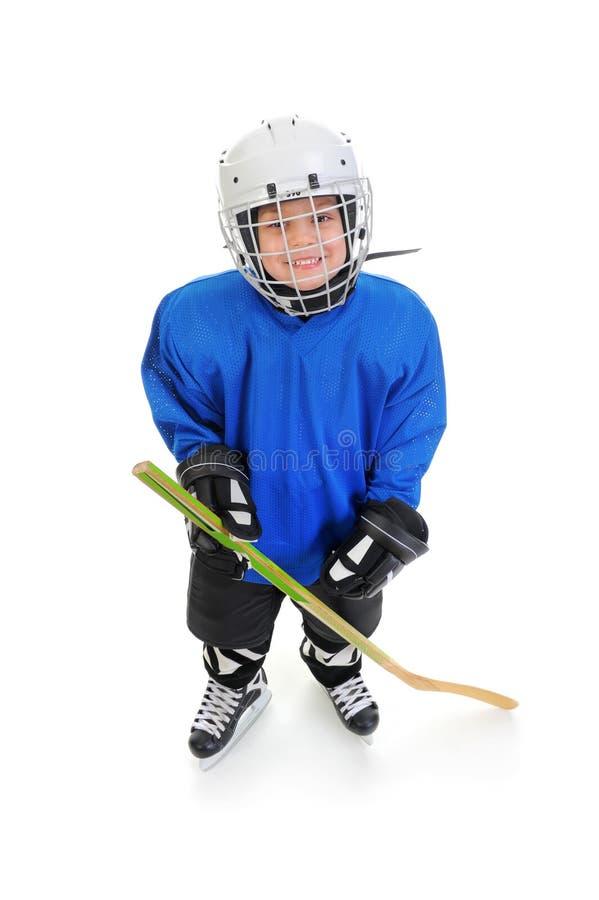 De Speler van het Hockey van Little Boy stock afbeelding