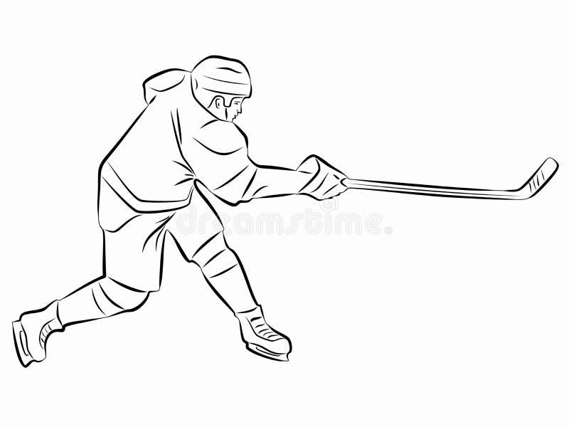 De speler van het illustratieijshockey, vector trekt vector illustratie