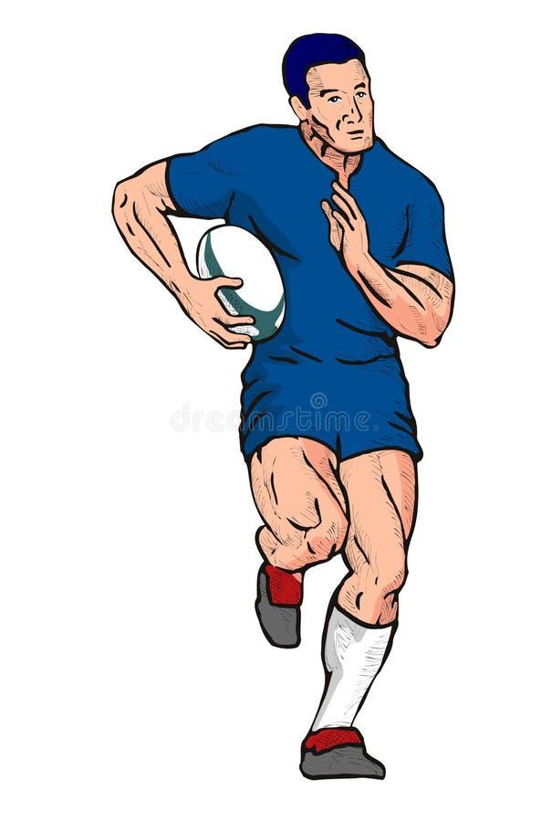 De speler van het rugby het lopen royalty-vrije illustratie
