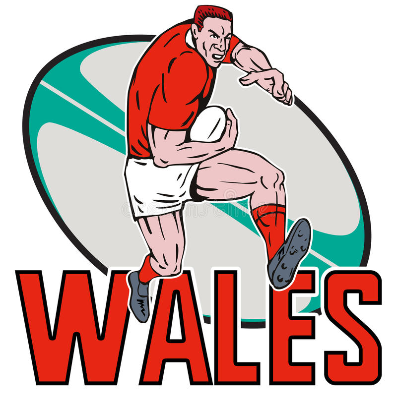 De speler van het Rugby van Wales het afweren stock illustratie