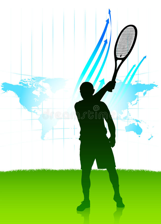 De Speler van het tennis op de Achtergrond van de Kaart van de Wereld royalty-vrije illustratie