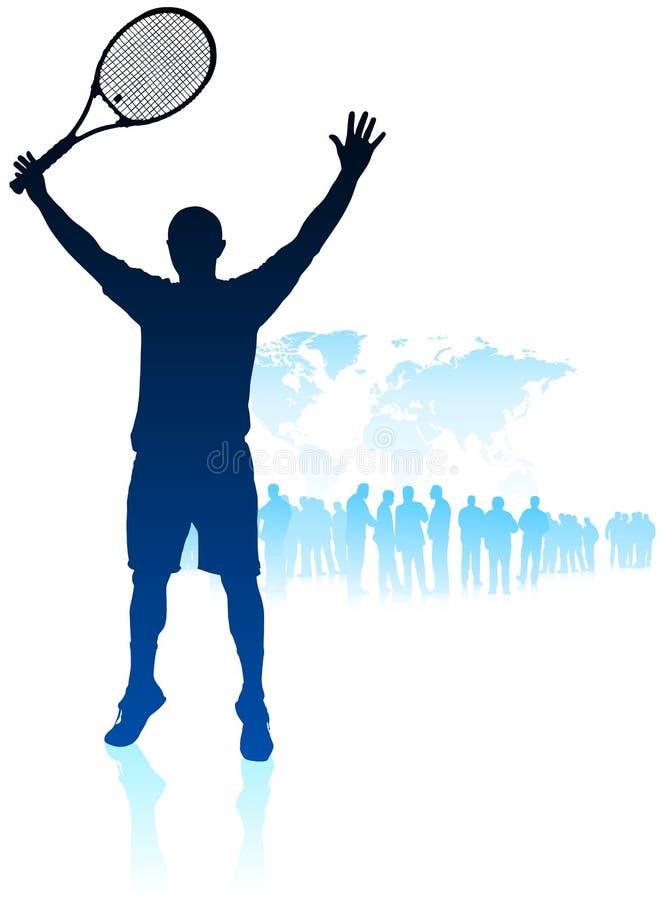 De Speler van het tennis op de Achtergrond van de Kaart van de Wereld met Menigte vector illustratie