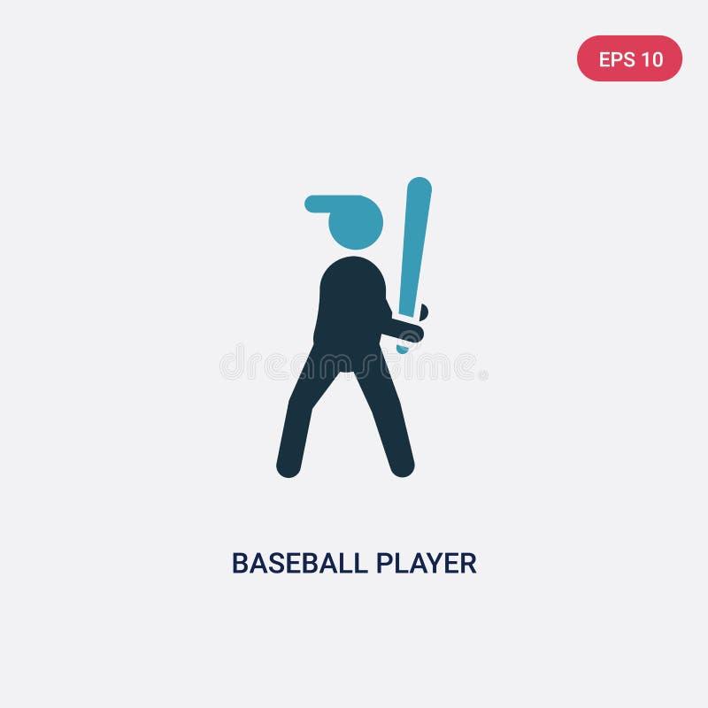 De speler van het twee kleurenhonkbal met knuppel vectorpictogram van sportenconcept de geïsoleerde blauwe honkbalspeler met symb royalty-vrije illustratie
