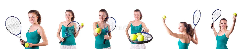 De speler van het vrouwentennis op wit wordt geïsoleerd dat stock foto