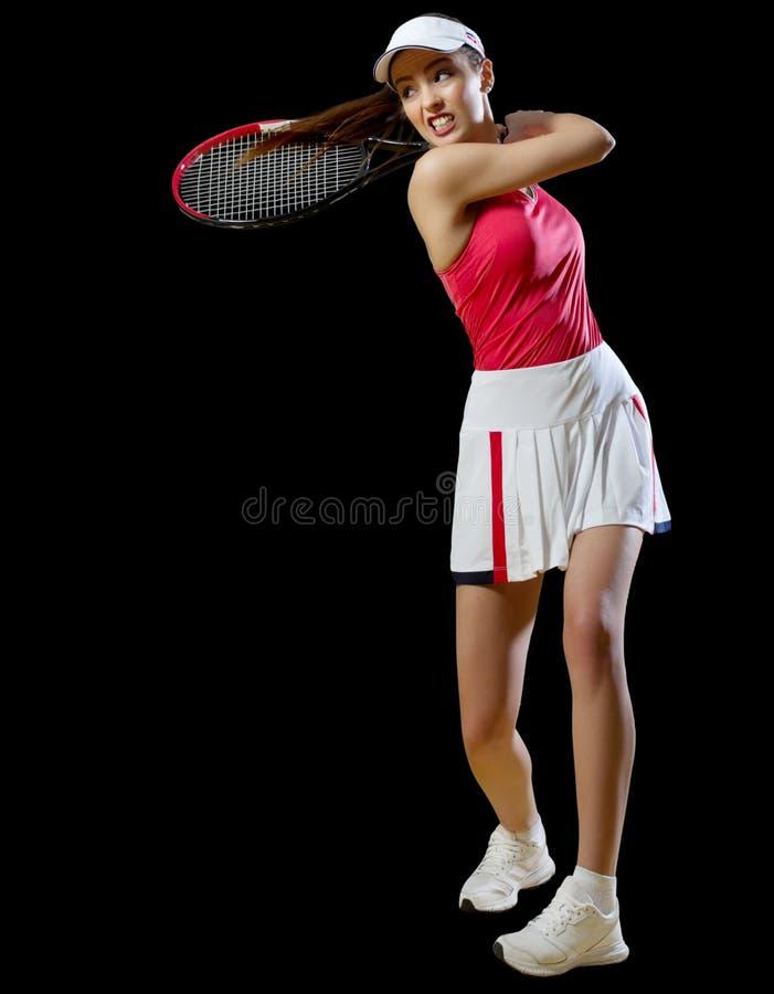 De speler van het vrouwentennis zonder bal wordt geïsoleerd die ver royalty-vrije stock fotografie