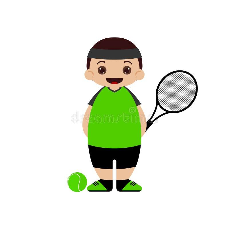 De speler vectorillustratie van het beeldverhaaltennis stock illustratie