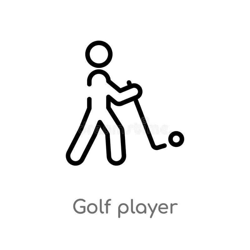 de speler vectorpictogram van het overzichtsgolf de geïsoleerde zwarte eenvoudige illustratie van het lijnelement van sportenconc royalty-vrije illustratie