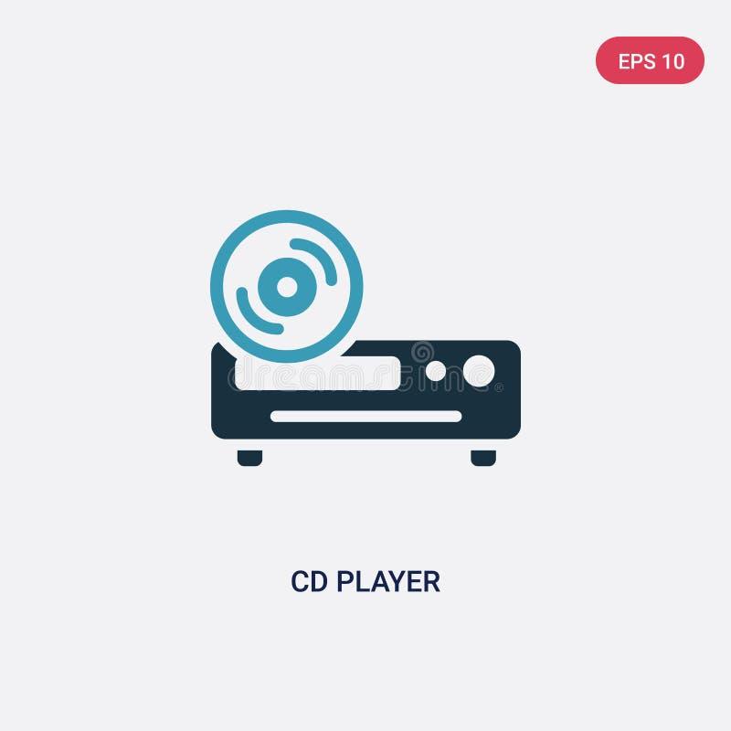 De speler vectorpictogram van twee kleurencd van slim huisconcept het geïsoleerde blauwe CD-symbool van het speler vectorteken ka royalty-vrije illustratie