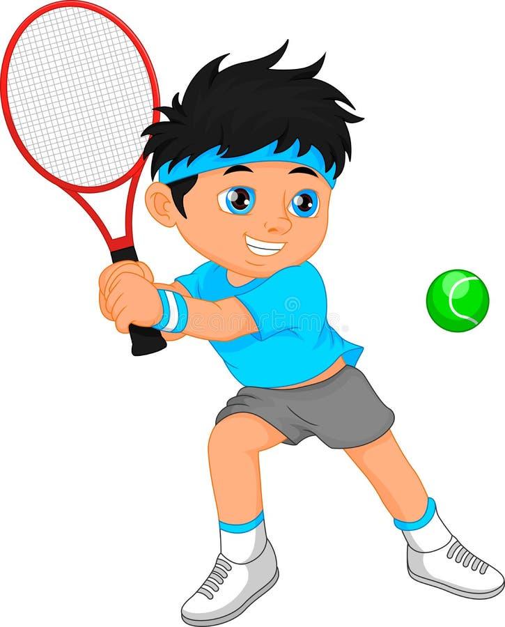 De spelerbeeldverhaal van het jongenstennis vector illustratie