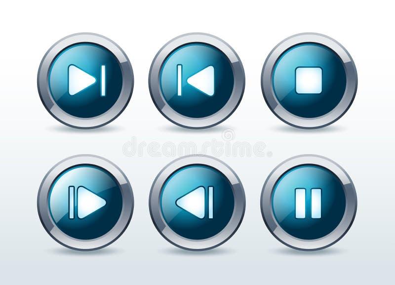 De spelerpictogrammen van media geplaatst illustratie vector illustratie