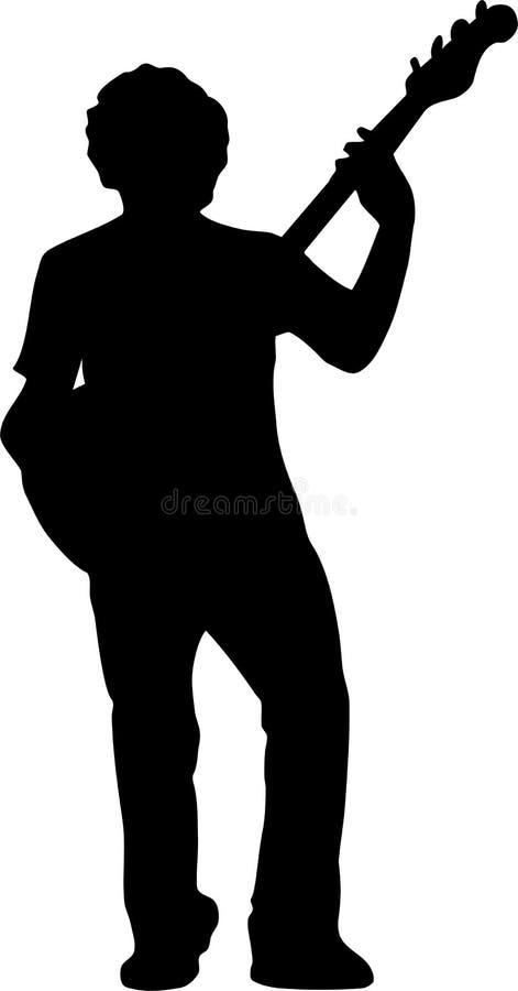 De spelersilhouet van de gitaar - vooraanzicht royalty-vrije illustratie