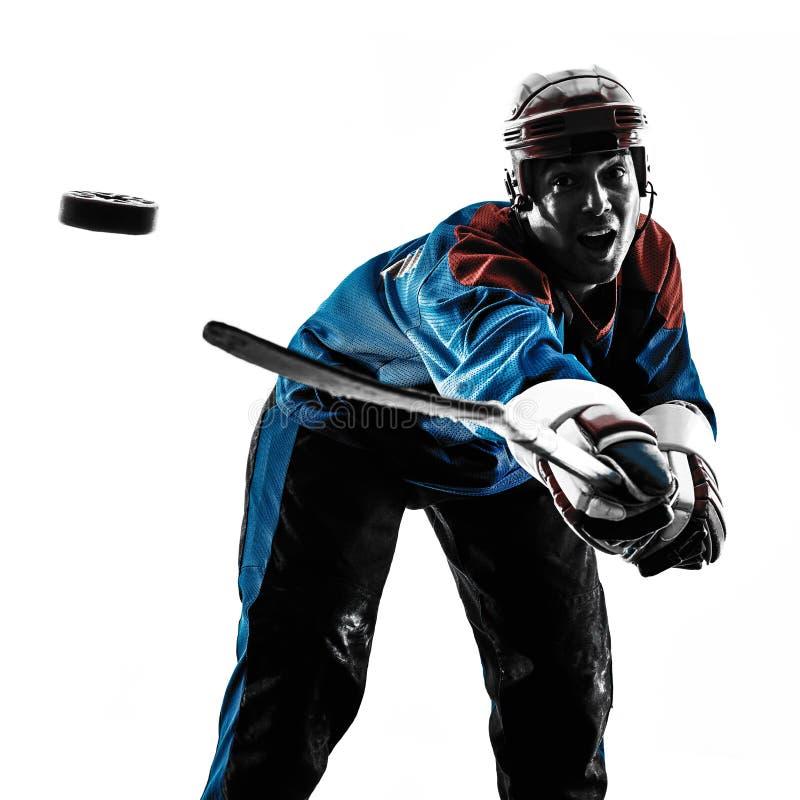 De spelersilhouet van de hockeymens royalty-vrije stock foto's
