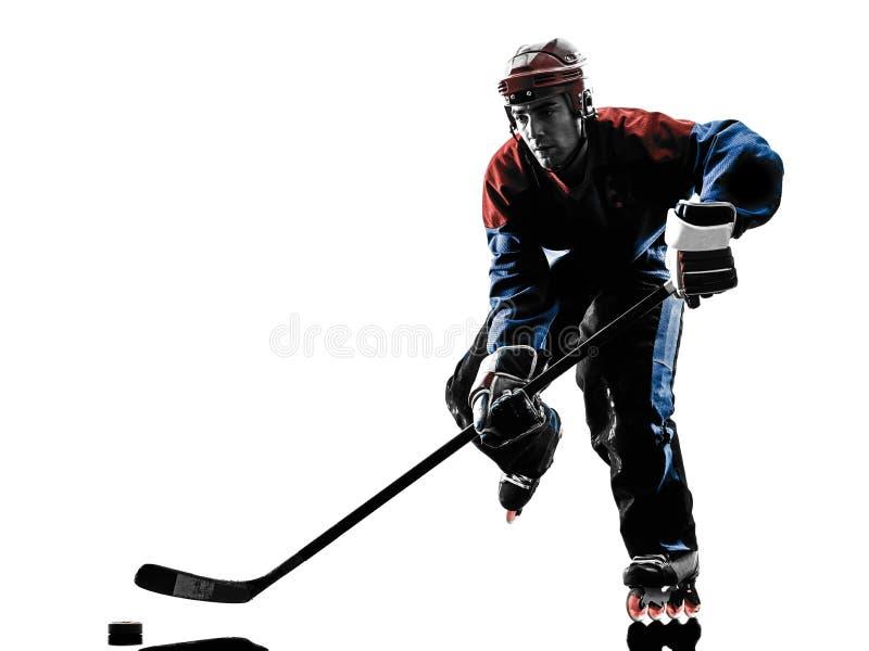 De spelersilhouet van de hockeymens stock foto