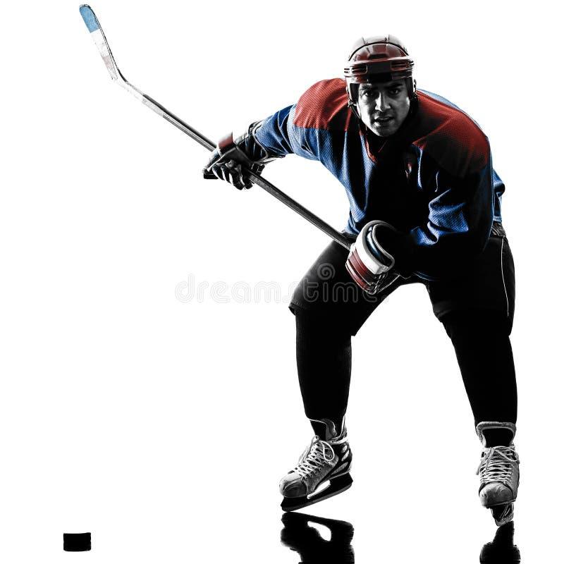 De spelersilhouet van de ijshockeymens stock fotografie
