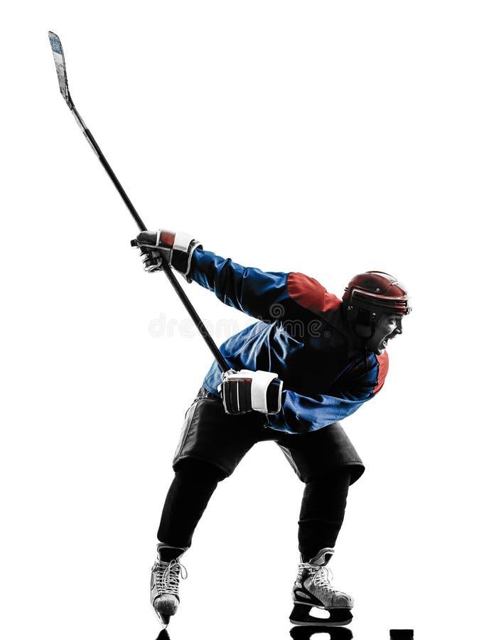 De spelersilhouet van de ijshockeymens stock foto