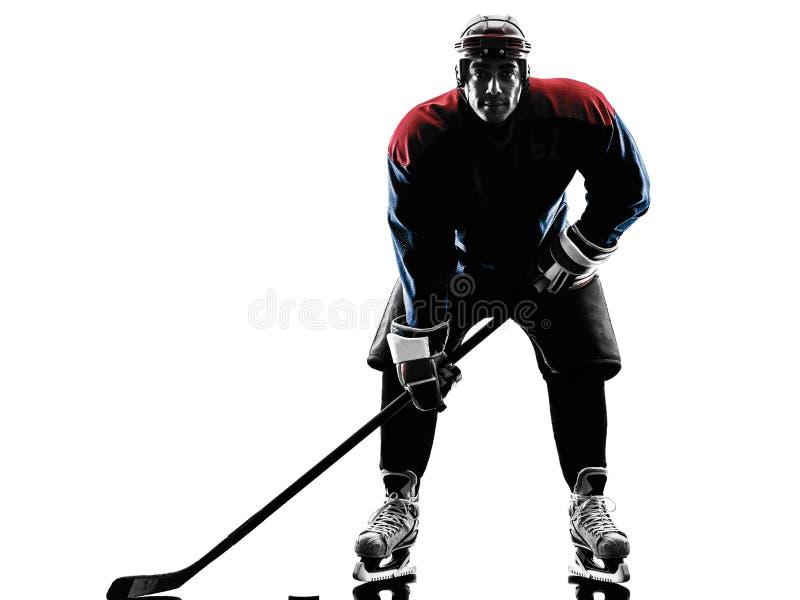 De spelersilhouet van de ijshockeymens stock foto's