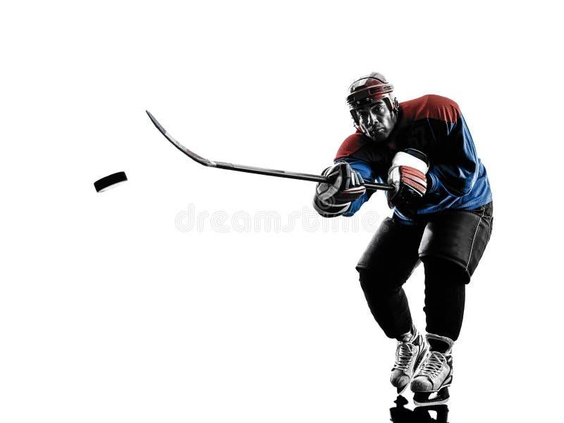 De spelersilhouet van de ijshockeymens royalty-vrije stock foto's