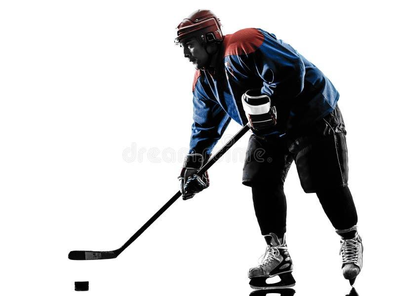 De spelersilhouet van de ijshockeymens royalty-vrije stock foto
