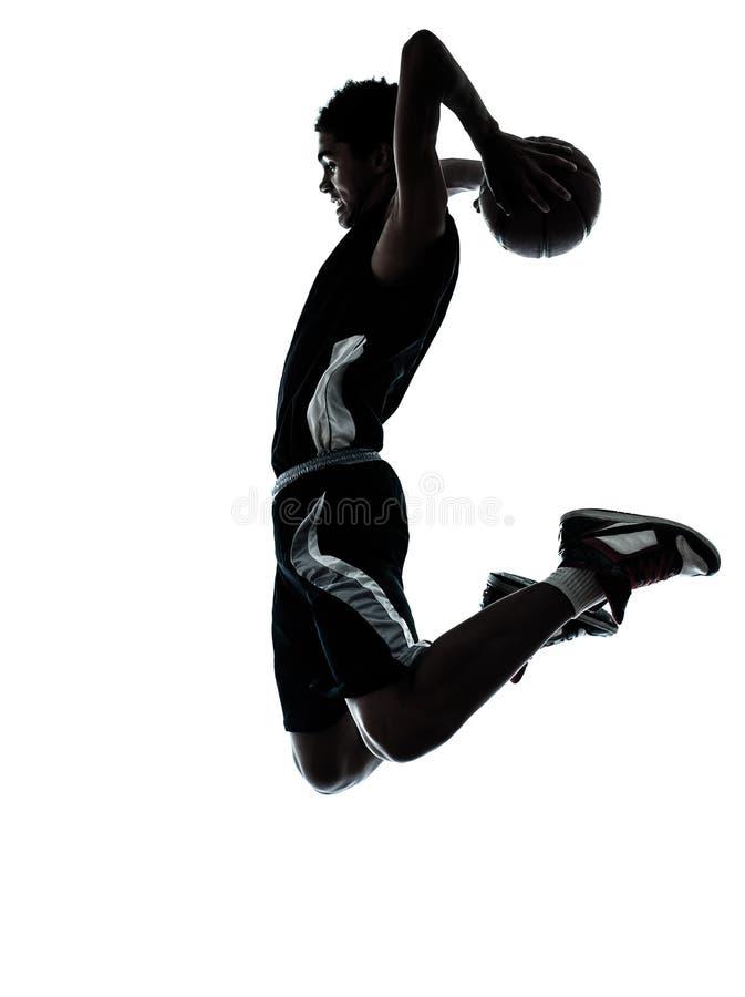 De spelersilhouet van het basketbal royalty-vrije stock foto's