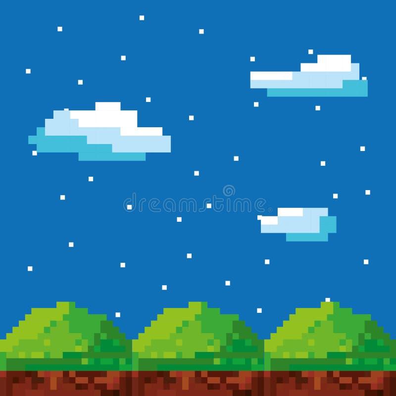 de spelscène pixelated achtergrond vector illustratie