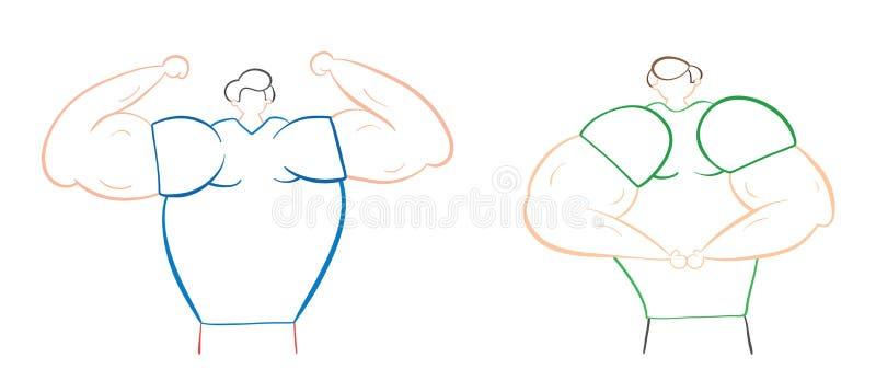 De spiermensen tonen hun spieren, hand-drawn vectorillustratie stock illustratie