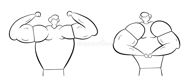De spiermensen tonen hun spieren, hand-drawn vectorillustratie Zwarte witte overzichten, stock illustratie