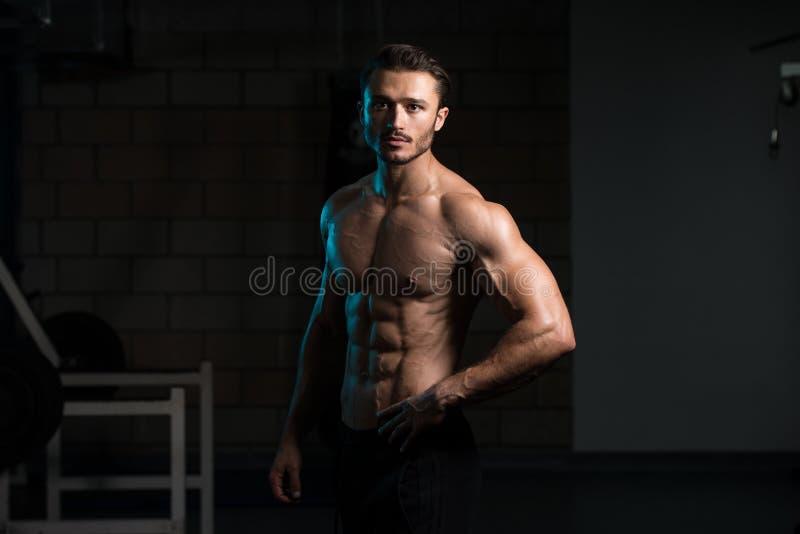 De spierspieren van de mensenverbuiging in gymnastiek stock afbeeldingen