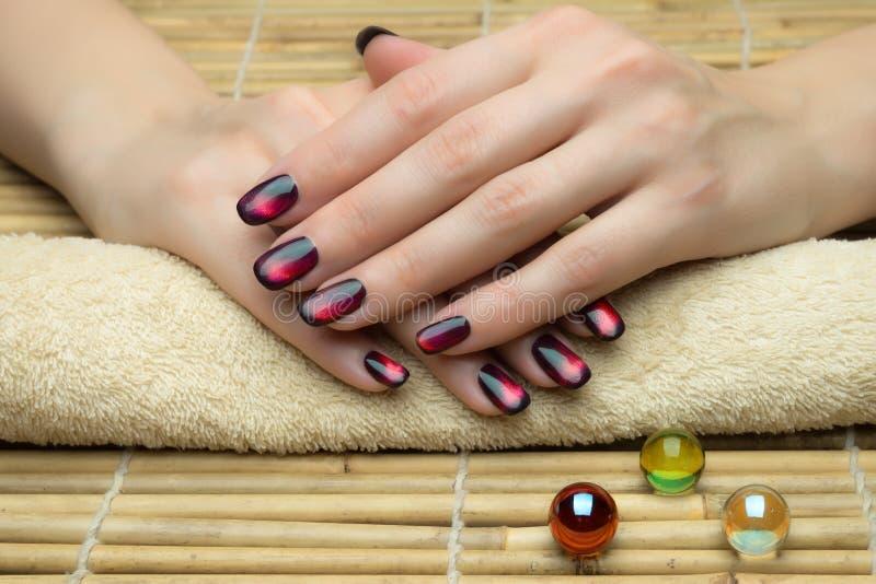 De spijkers van de mooie vrouw met aardige modieuze manicure stock foto's