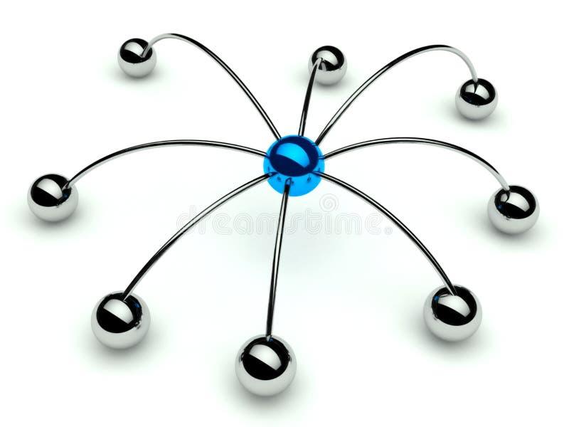 De spin, de Mededeling en de hiërarchie van Netwrok stock illustratie