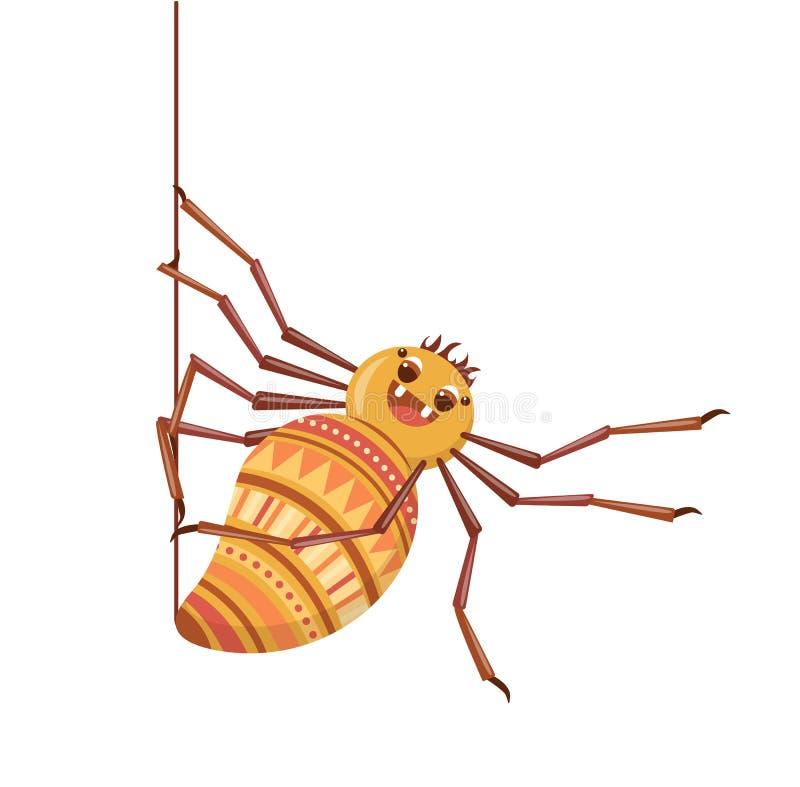 De spin weeft zijn Web Leuke beeldverhaaltarantula royalty-vrije stock fotografie