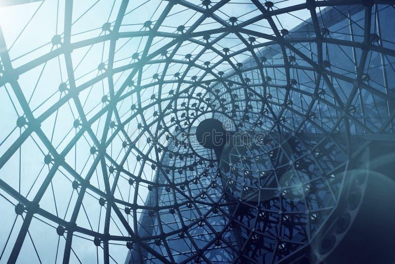 De spiraalvormige achtergrond van het textuurdak Moderne en eigentijdse arcitec royalty-vrije stock fotografie