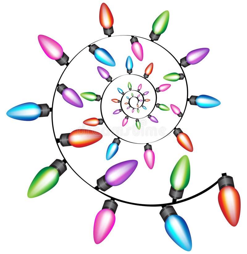 De spiraalvormige Lichten van Kerstmis stock illustratie