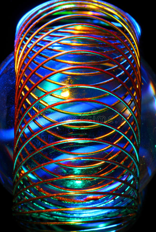 De spiraalvormige samenvatting van de draad stock afbeelding