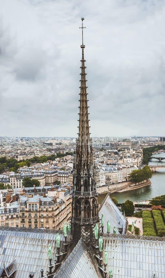 De spits van Notre Dame de Paris, panorama van Parijs en rivierzegen van het dak van Notre Dame-kathedraal, Frankrijk royalty-vrije stock afbeelding