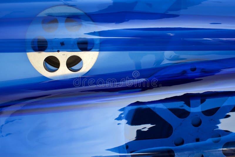 De spoel van de filmfilm op blauw royalty-vrije stock foto