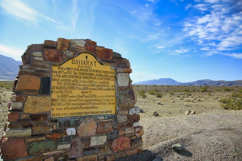 De spookstadwoestijn Californië van de Ballaratplaque stock afbeelding