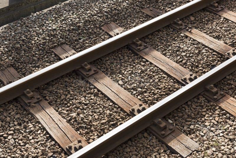 De spoorweg of de spoorweg blokkeert spoorstructuur, het ijzer van de Treinspoorweg, close-up, Technologieconcept stock fotografie