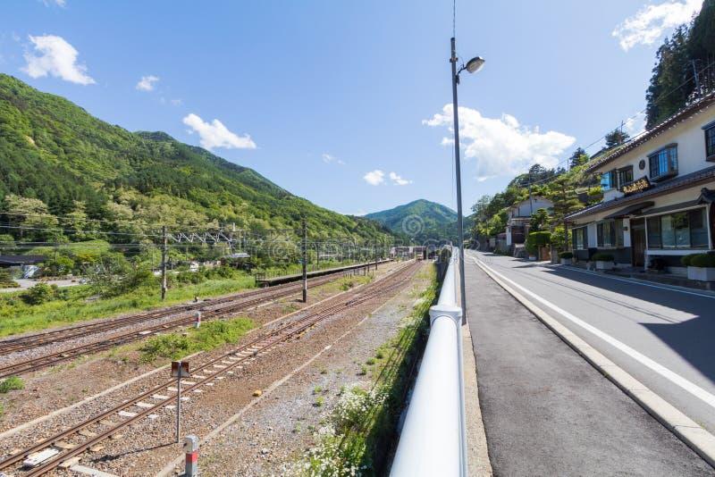 De spoorweg in Narai is een kleine stad en de oude stad in Nagano royalty-vrije stock afbeeldingen