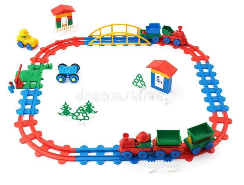 De spoorweg van kinderen, treinen en ander speelgoed royalty-vrije stock foto's