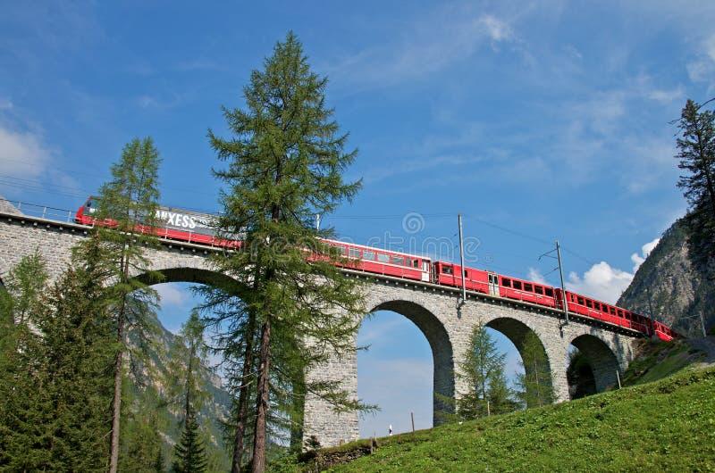 De spoorweg van Rhaetian stock fotografie
