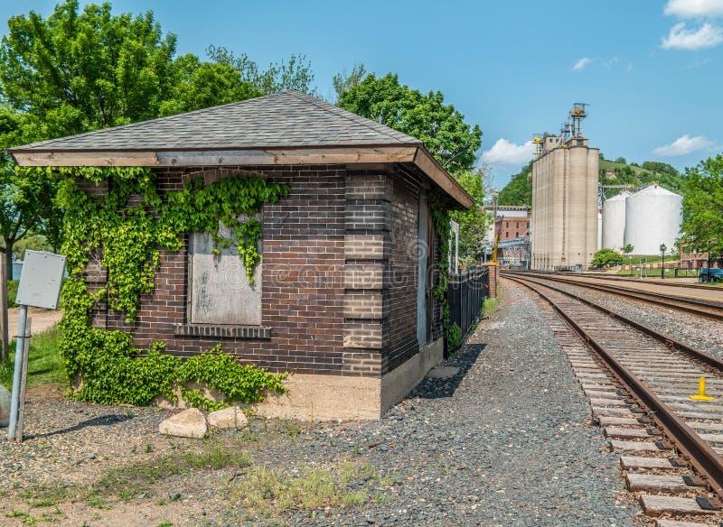 De spoorwegbouw en industriezone stock fotografie