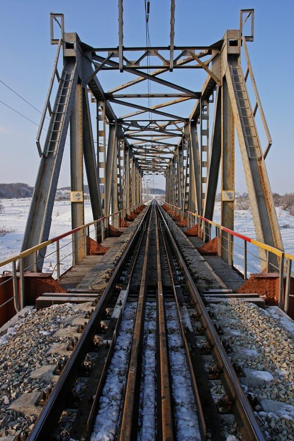 De spoorwegbrug van het staal stock afbeelding