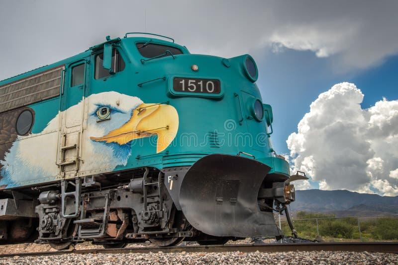 De Spoorwegfp7 Locomotief van de Verdecanion stock afbeeldingen