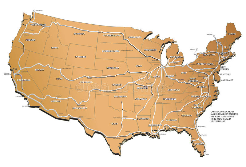 De spoorwegkaart van de V.S. royalty-vrije illustratie