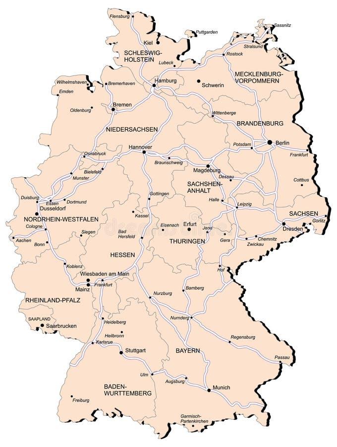 De Spoorwegkaart Van Duitsland Vector Illustratie Illustratie