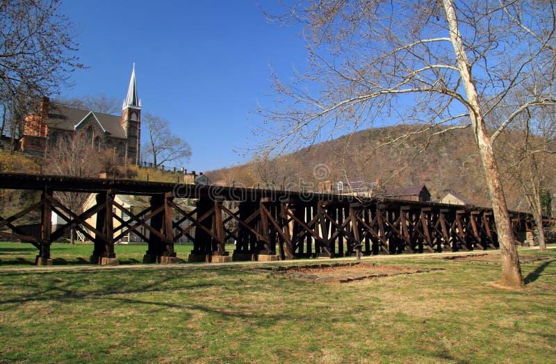 De Spoorwegschraag van Winchester en Potomac in Harpers-Veerboot royalty-vrije stock afbeelding
