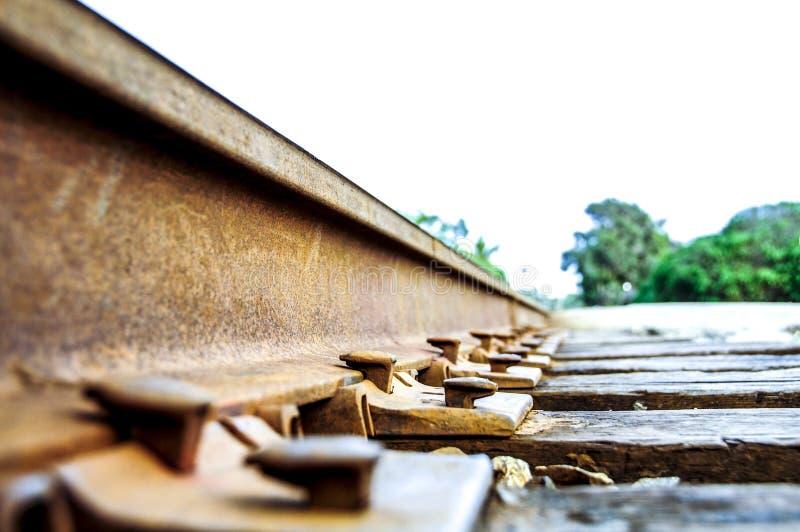 De spoorwegsporen sluiten omhoog stock foto